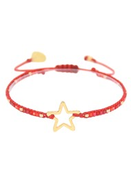 MISHKY Melted Star Beaded Bracelet - Red