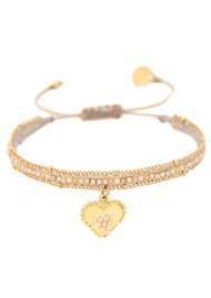 MISHKY Cuore Sacro Heart Charm Beaded Bracelet - Beige & Gold