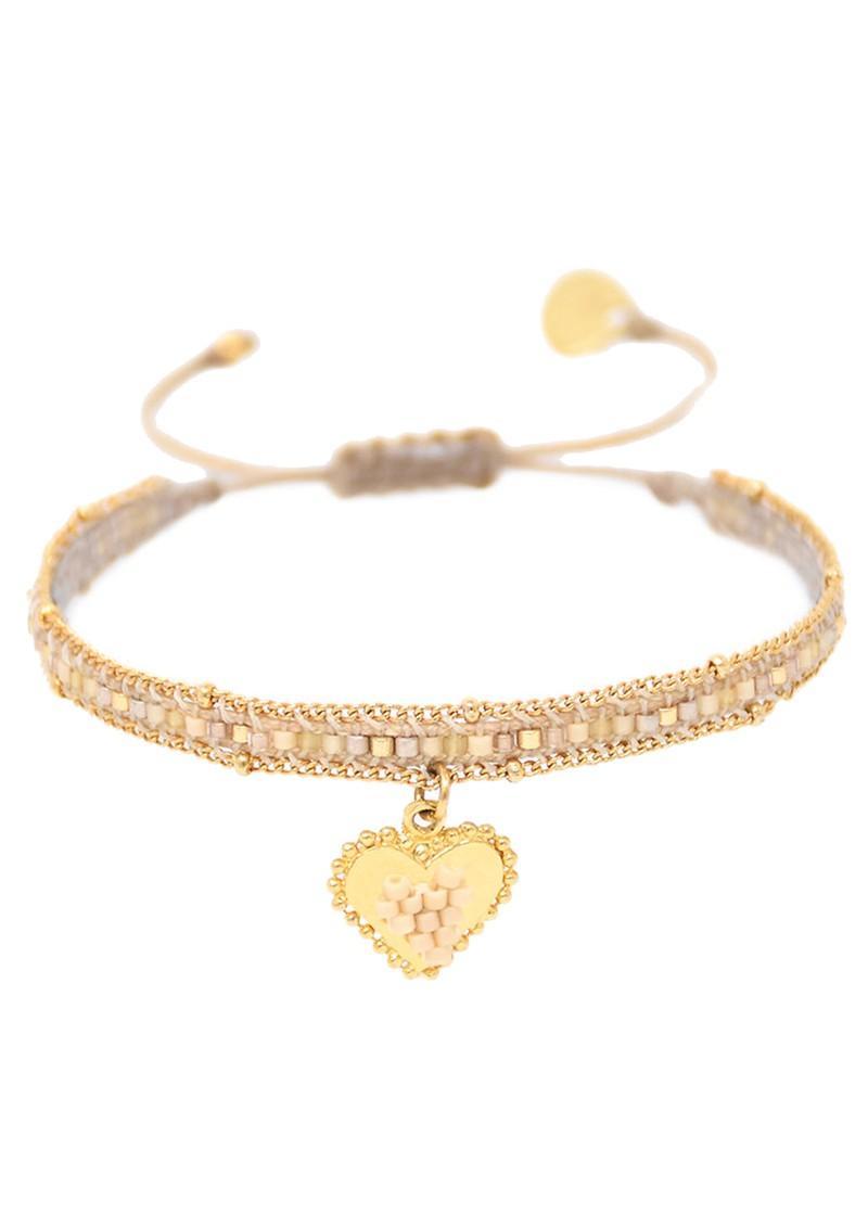 MISHKY Cuore Sacro Heart Charm Beaded Bracelet - Beige & Gold main image