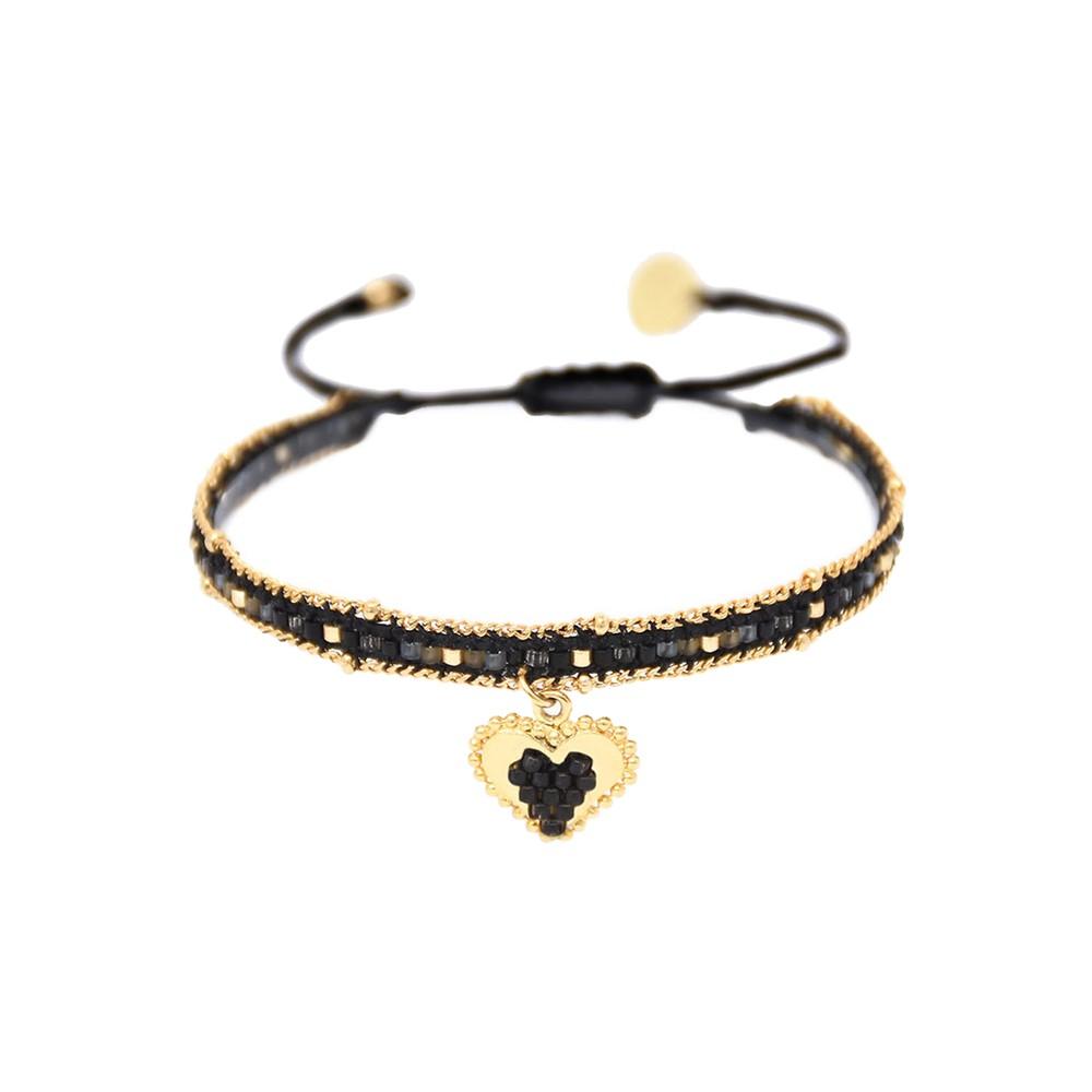 Cuore Sacro Heart Charm Beaded Bracelet - Black & Gold
