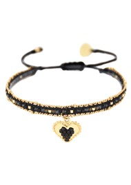 MISHKY Cuore Sacro Heart Charm Beaded Bracelet - Black & Gold
