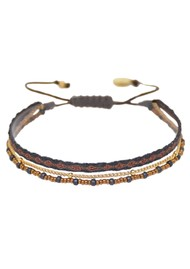 MISHKY Boho Maya Beaded Bracelet - Black & Bronze