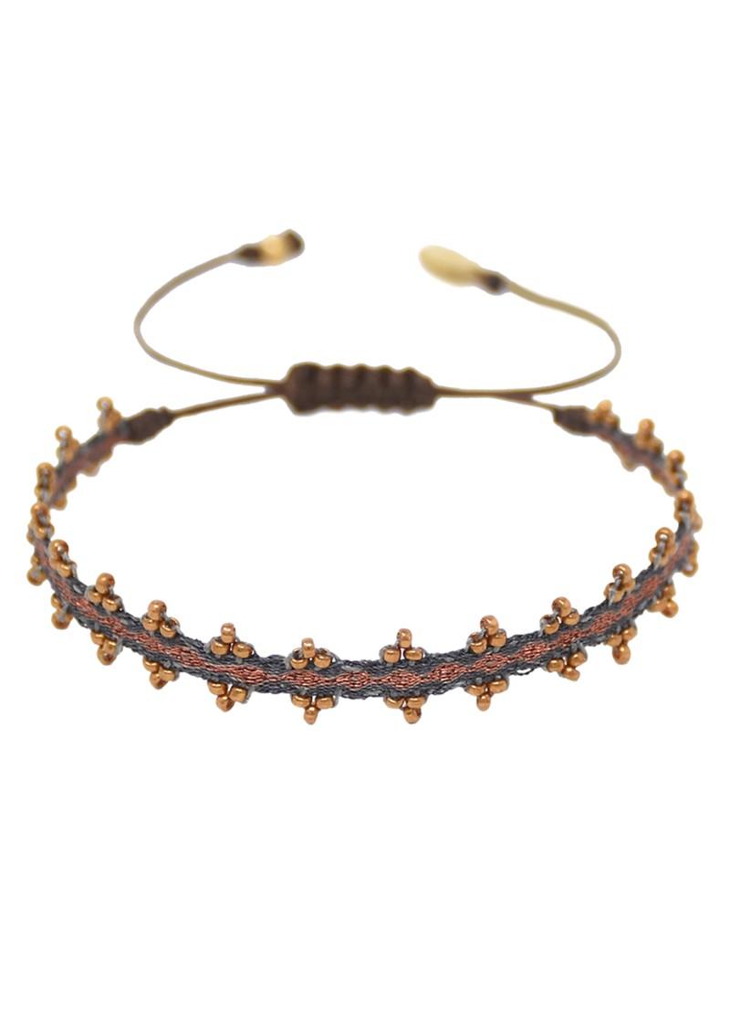 MISHKY Boho Shanty Beaded Bracelet - Black & Bronze main image