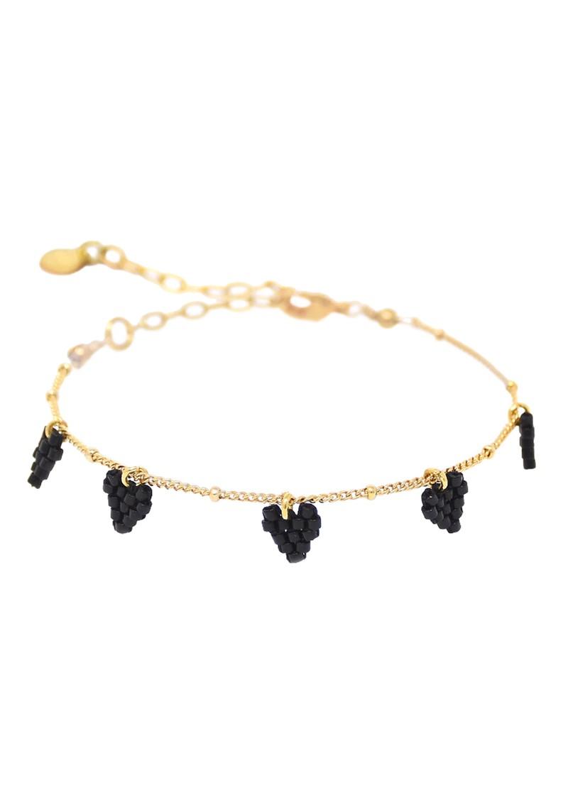 MISHKY Multi Heart Chain Bracelet - Black main image