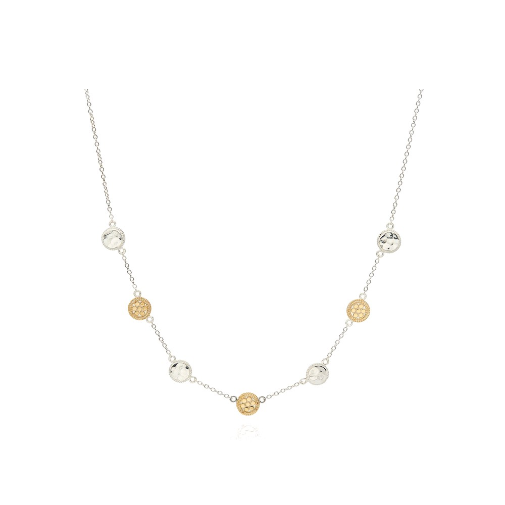 Hammered Station Necklace - Gold & Silver