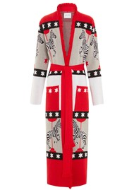 HAYLEY MENZIES Carousel Cotton Jacquard Duster Cardigan - Red