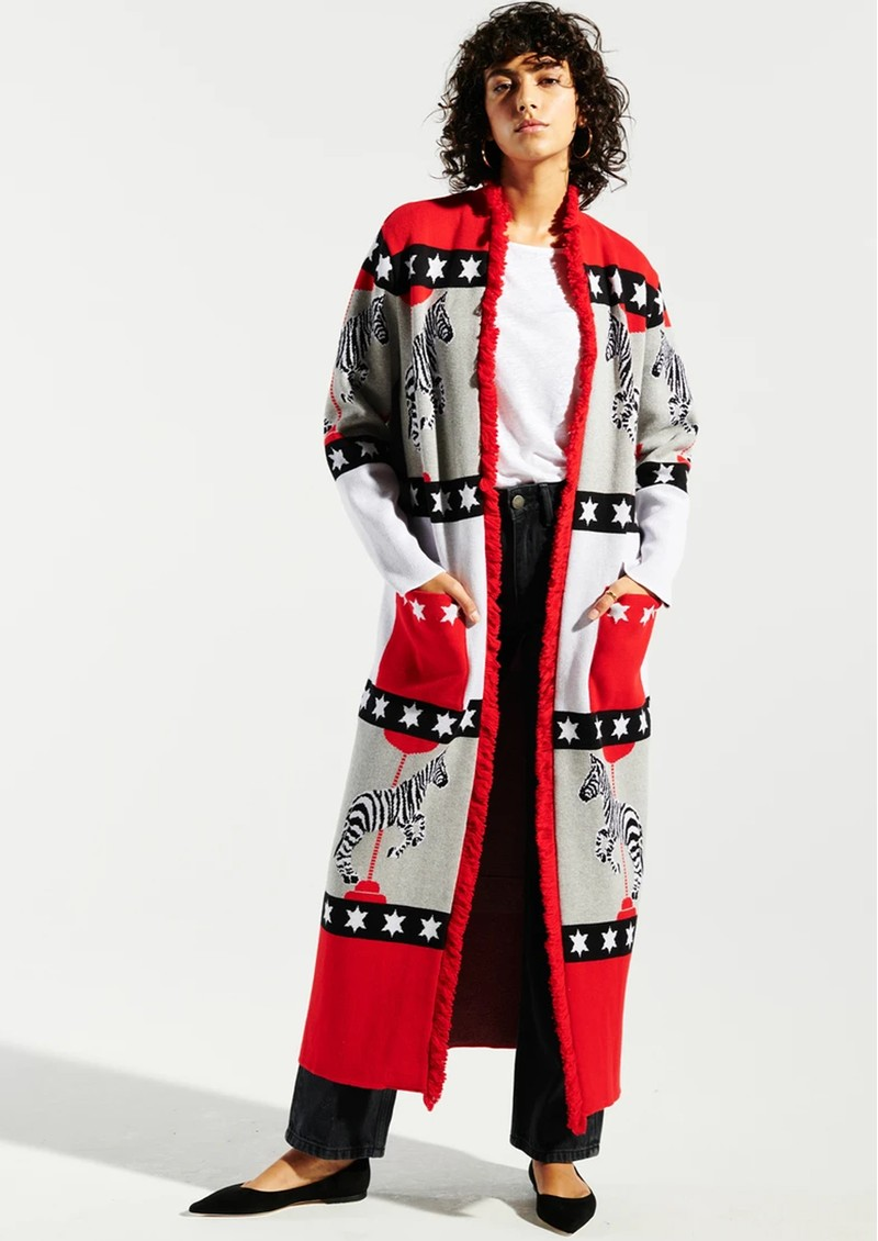 HAYLEY MENZIES Carousel Cotton Jacquard Duster Cardigan - Red main image