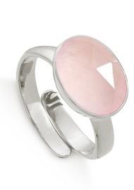 SVP Atomic Adjustable Maxi Silver Ring - Rose Quartz