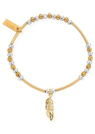 ChloBo Sparkle Filigree Feather Bracelet - Silver & Gold