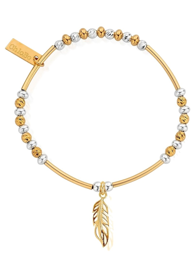 ChloBo Sparkle Filigree Feather Bracelet - Silver & Gold main image