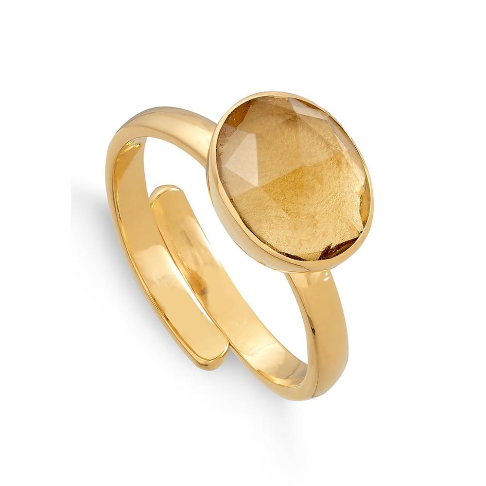 Atomic Midi Adjustable Ring - Gold & Champagne Quartz