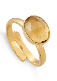 SVP Atomic Midi Adjustable Ring - Gold & Champagne Quartz