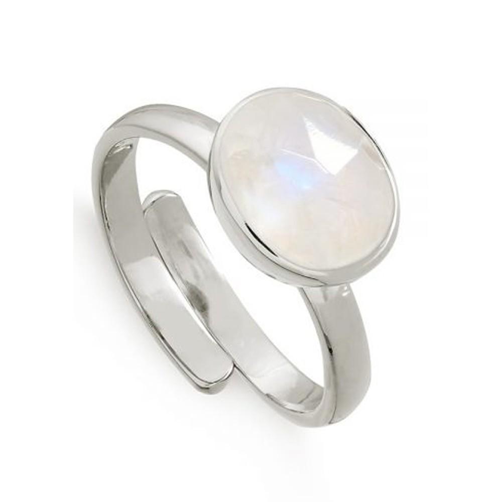 Atomic Midi Adjustable Ring -Rainbow Moonstone & Silver