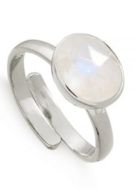 SVP Atomic Midi Adjustable Ring -Rainbow Moonstone & Silver