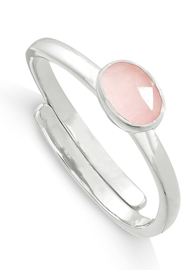 SVP Atomic Mini Adjustable Ring - Rose Quartz & Silver main image
