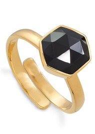 SVP Firestarter Adjustable Ring - Black Spinel & Gold