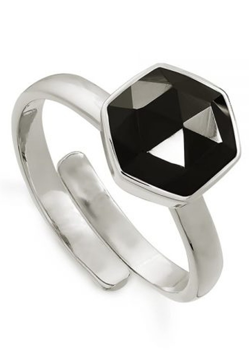 Firestarter Adjustable Ring - Black Spinel & Silver main image