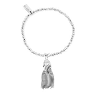 Mini Disc Bracelet with Tassel Charm - Silver