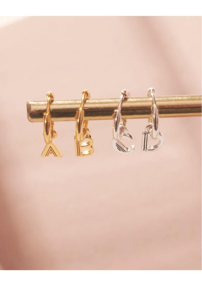 RACHEL JACKSON This is Me Gold Mini Hoop Huggie Earring - Letter M main image