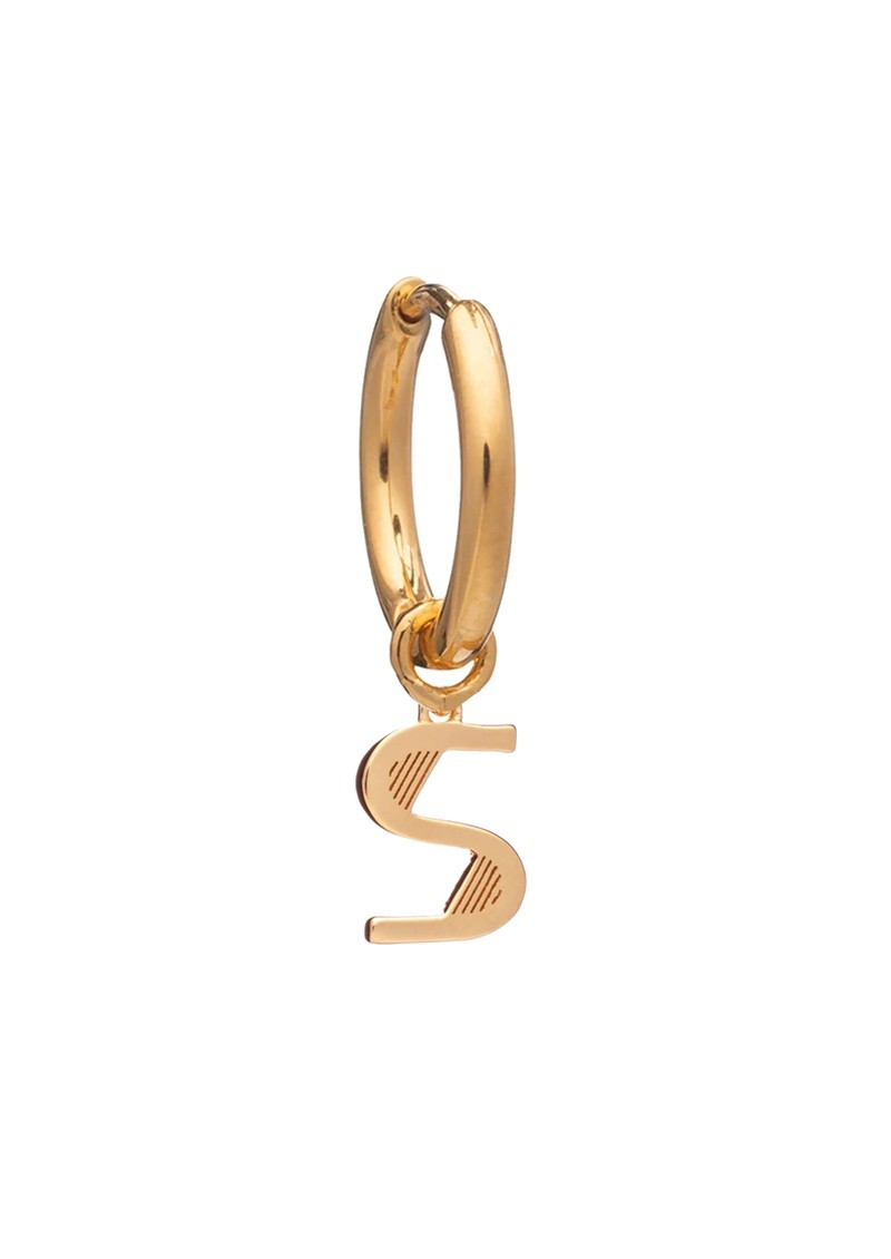 RACHEL JACKSON This is Me Gold Mini Hoop Huggie Earring - Letter S main image