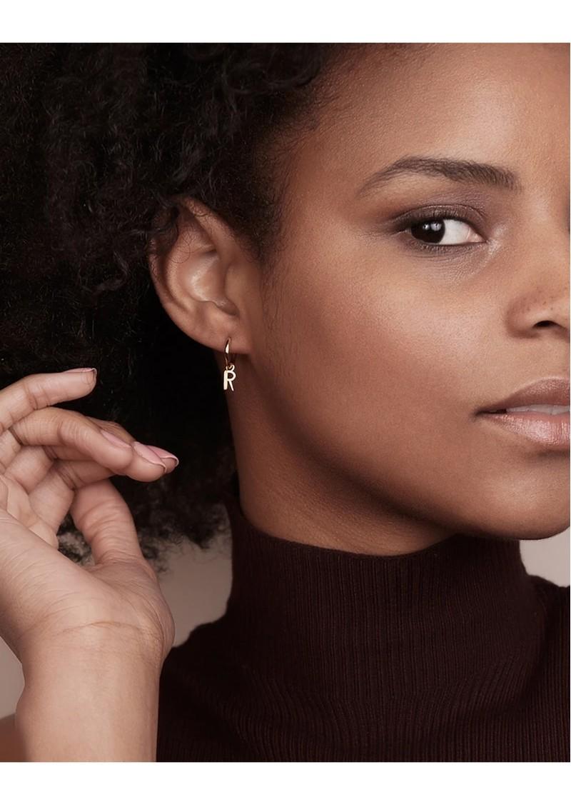 RACHEL JACKSON This is Me Gold Mini Hoop Huggie Earring - Letter Y main image
