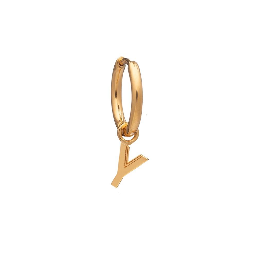 This is Me Gold Mini Hoop Huggie Earring - Letter Y