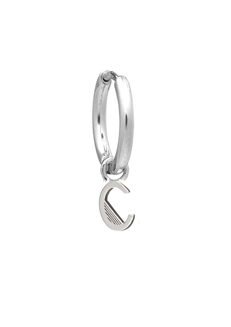 RACHEL JACKSON This is Me Silver Mini Hoop Huggie Earring - Letter C main image