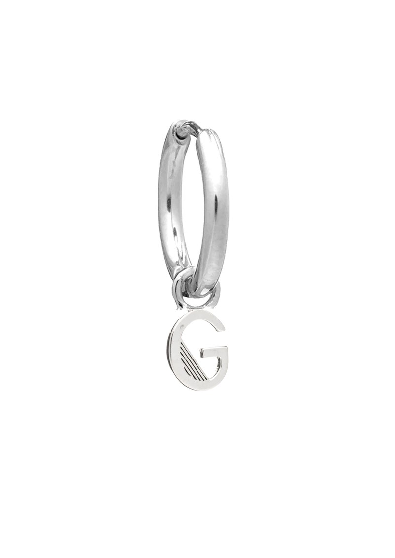 This is Me Silver Mini Hoop Huggie Earring - Letter G main image