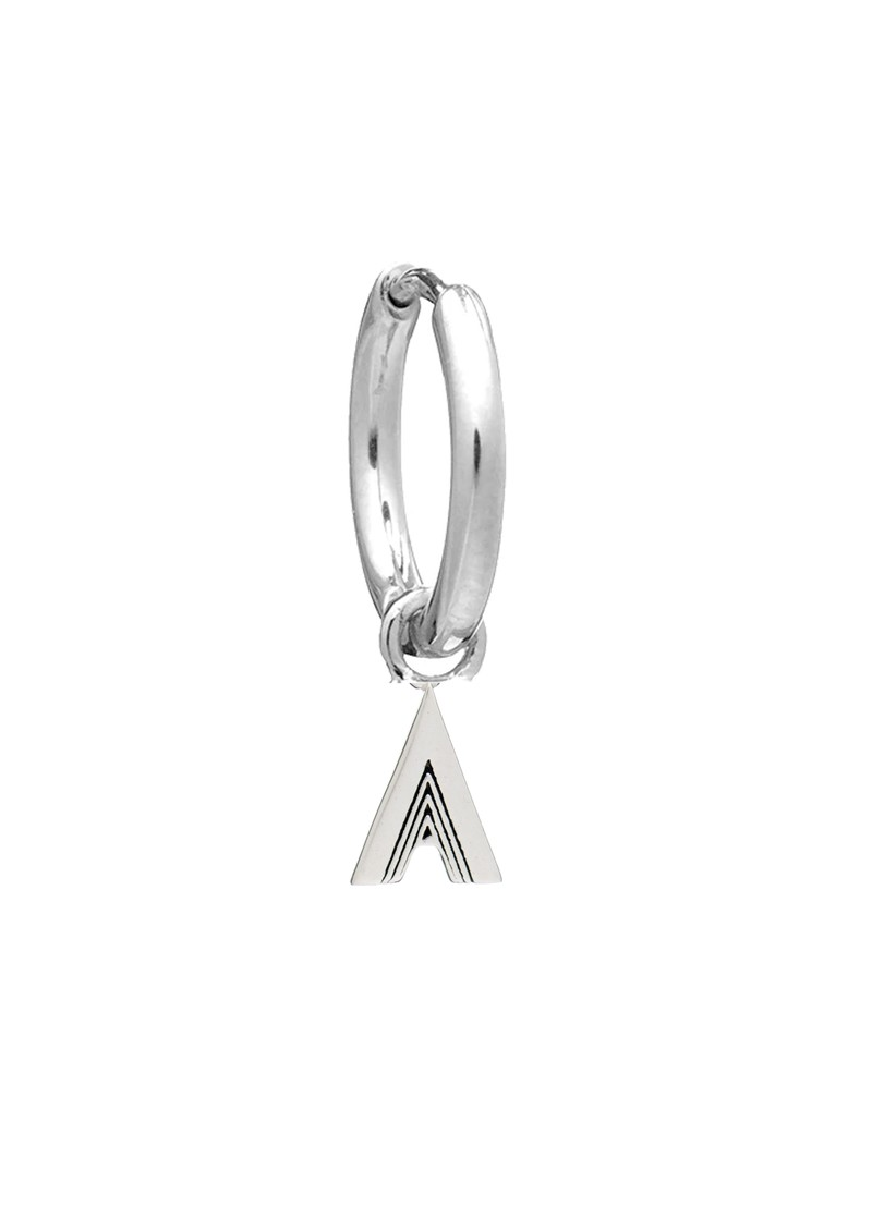 RACHEL JACKSON This is Me Silver Mini Hoop Huggie Earring - Letter A main image