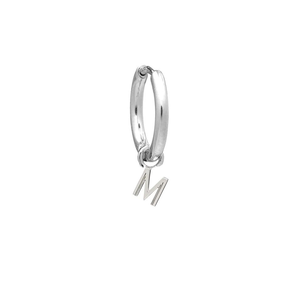 This is Me Silver Mini Hoop Huggie Earring - Letter M
