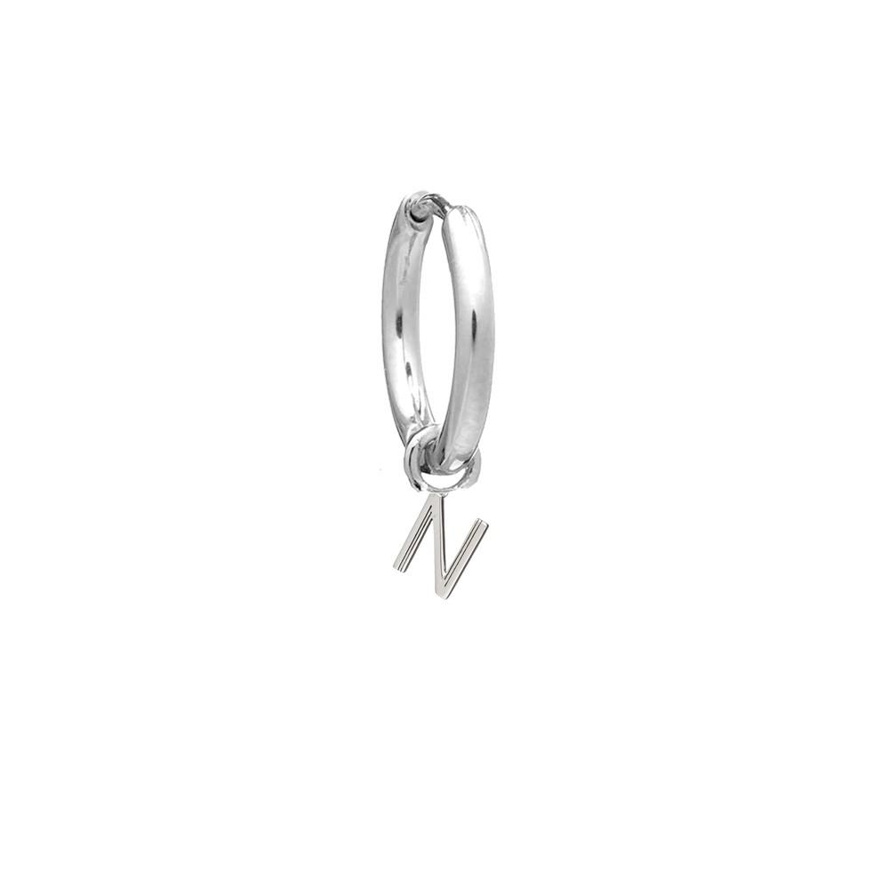 This is Me Silver Mini Hoop Huggie Earring - Letter N