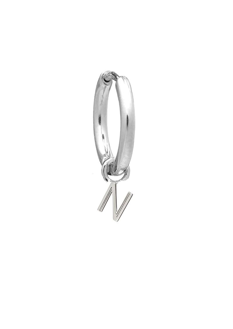 RACHEL JACKSON This is Me Silver Mini Hoop Huggie Earring - Letter N main image