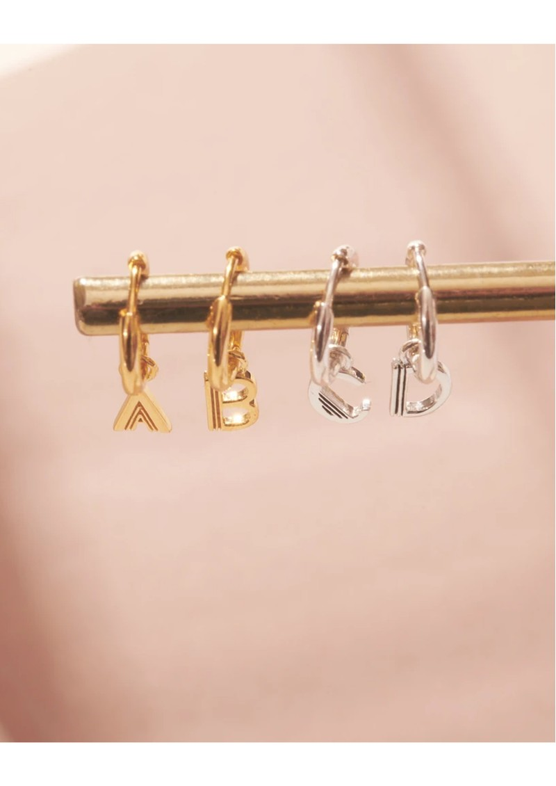 RACHEL JACKSON This is Me Silver Mini Hoop Huggie Earring - Letter S main image