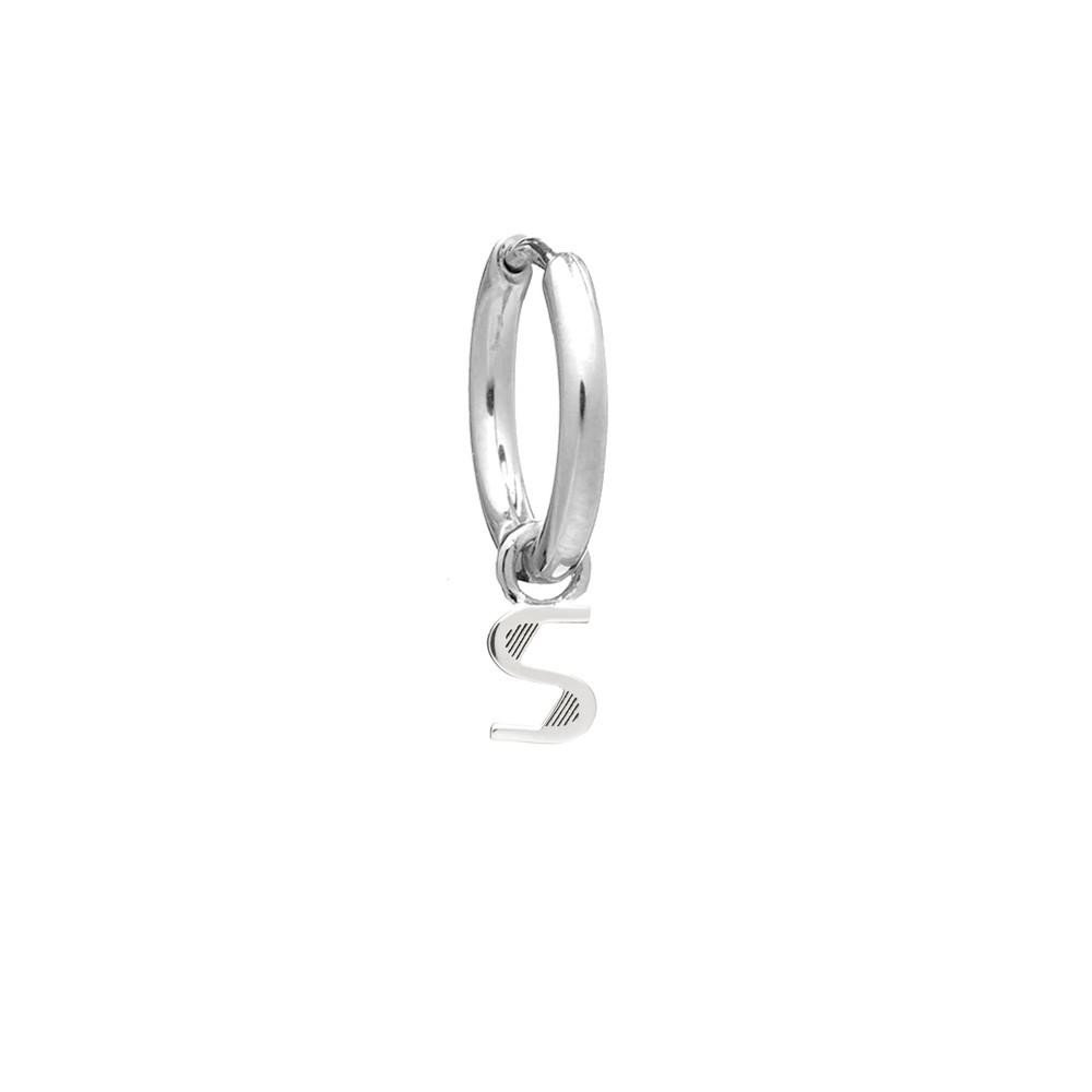 This is Me Silver Mini Hoop Huggie Earring - Letter S