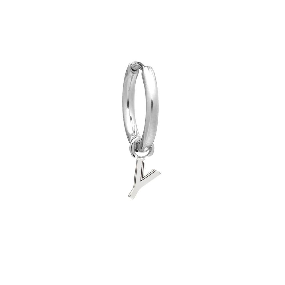 This is Me Silver Mini Hoop Huggie Earring - Letter Y