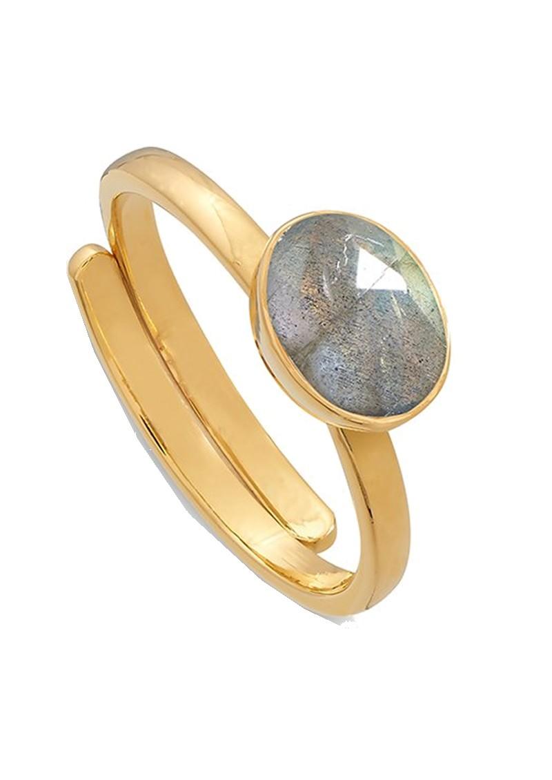 SVP Atomic Mini Adjustable Ring - Labradorite & Gold main image
