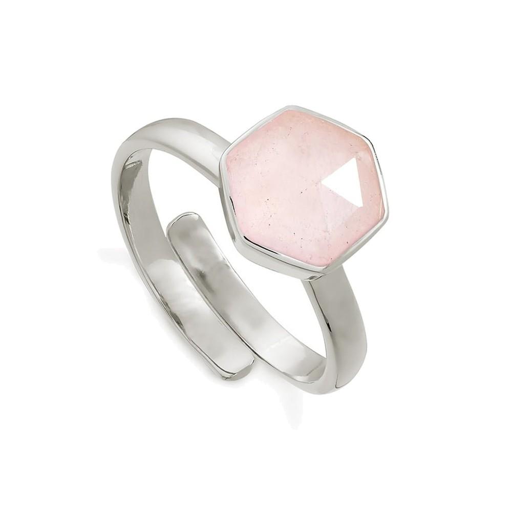 Firestarter Adjustable Ring - Rose Quartz & Silver