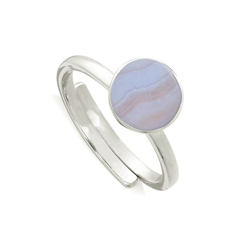 Starman Adjustable Ring - Blue Lace Agate & Silver
