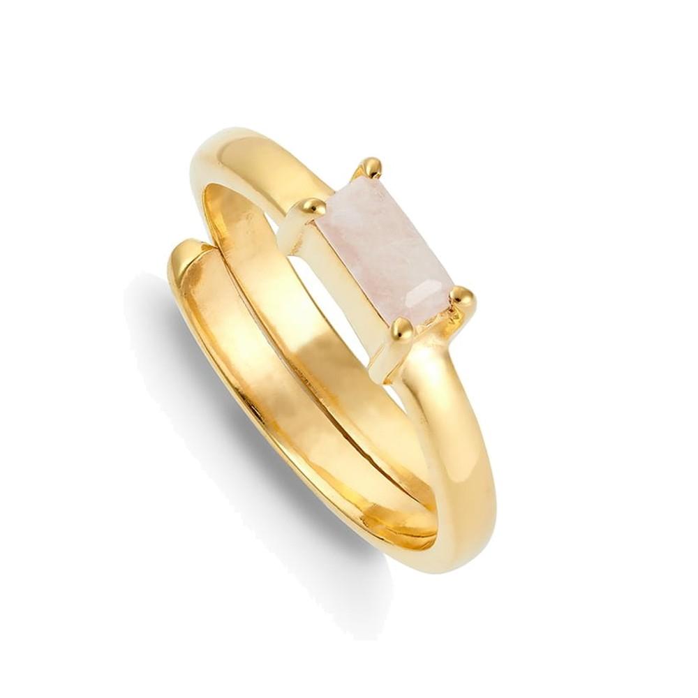 Nivarna Small Adjustable Ring - Gold & Morganite