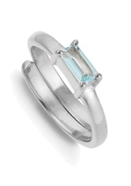 SVP Nivarna Small Adjustable Ring - Silver & Blue Topaz