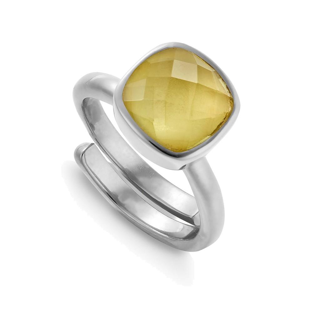 Highway Star Adjustable Ring - Lemon Quartz & Silver