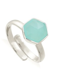 SVP Firestarter Adjustable Ring - Light Green Chalcedony  & Silver