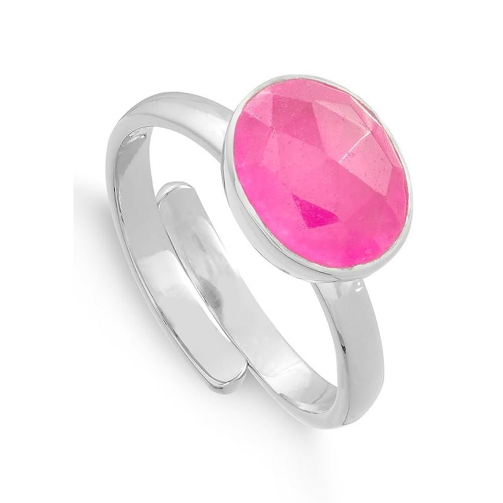 Atomic Midi Adjustable Ring - Ruby Quartz & Silver