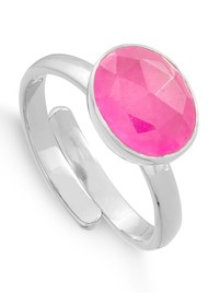 SVP Atomic Midi Adjustable Ring - Ruby Quartz & Silver