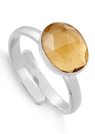 SVP Atomic Midi Adjustable Ring - Champagne Quartz & Silver