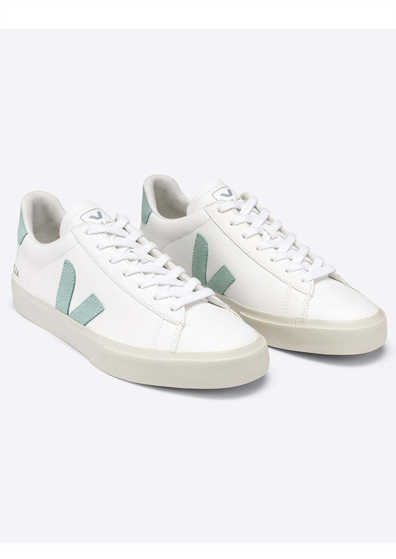 VEJA Campo Leather Trainers - Extra White & Matcha main image