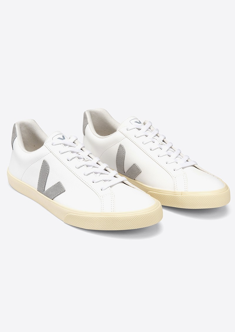 VEJA Esplar Logo Leather Trainers - Extra White & Oxford Grey main image