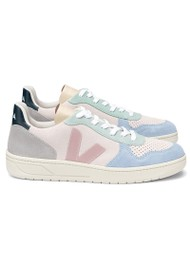VEJA V-10 Suede Trainers - Multico, Natural & Babe