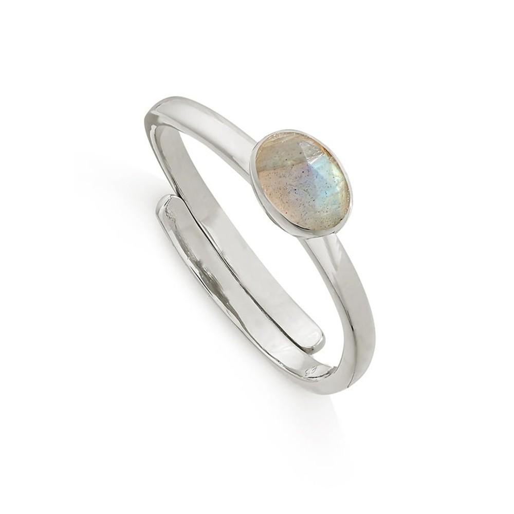 Atomic Micro Adjustable Ring - Silver & Labradorite