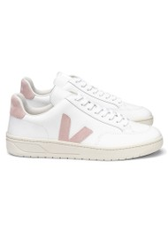 VEJA V-12 Leather Trainers - Extra White & Babe